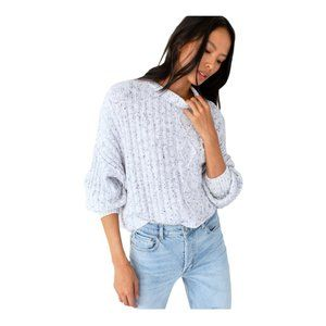 Free People Blue On Your Side Pullover Sweater L